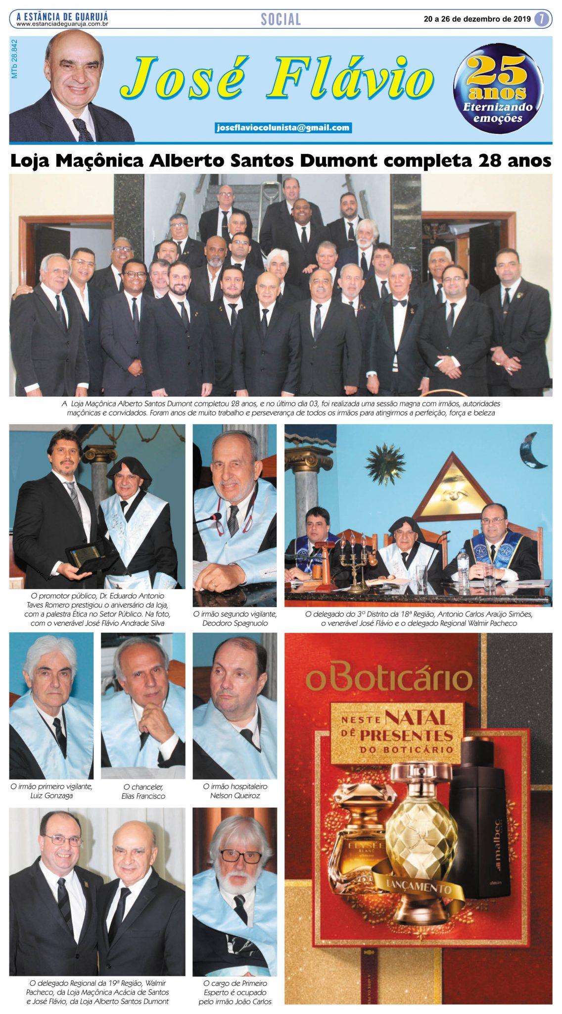 Loja Maçônica Alberto Santos Dumont completa 28 anos