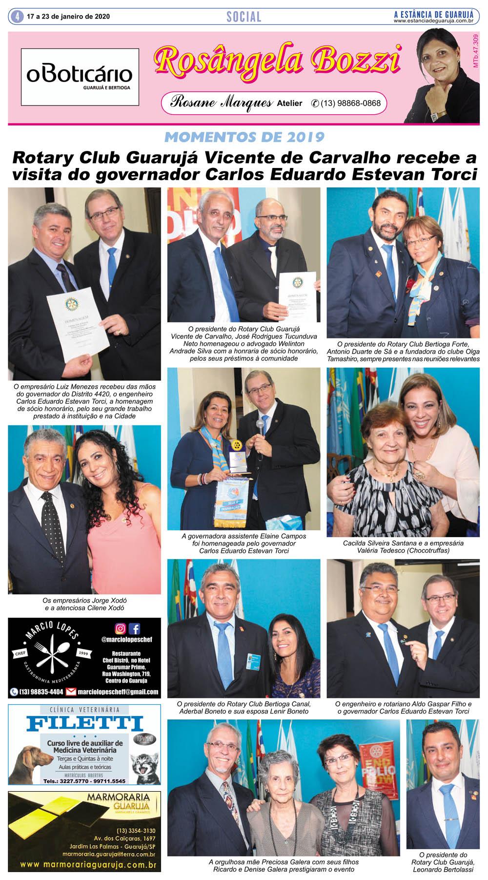 Rotary Club Guarujá VC recebe a visita do governador Carlos Eduardo Estevan Torci