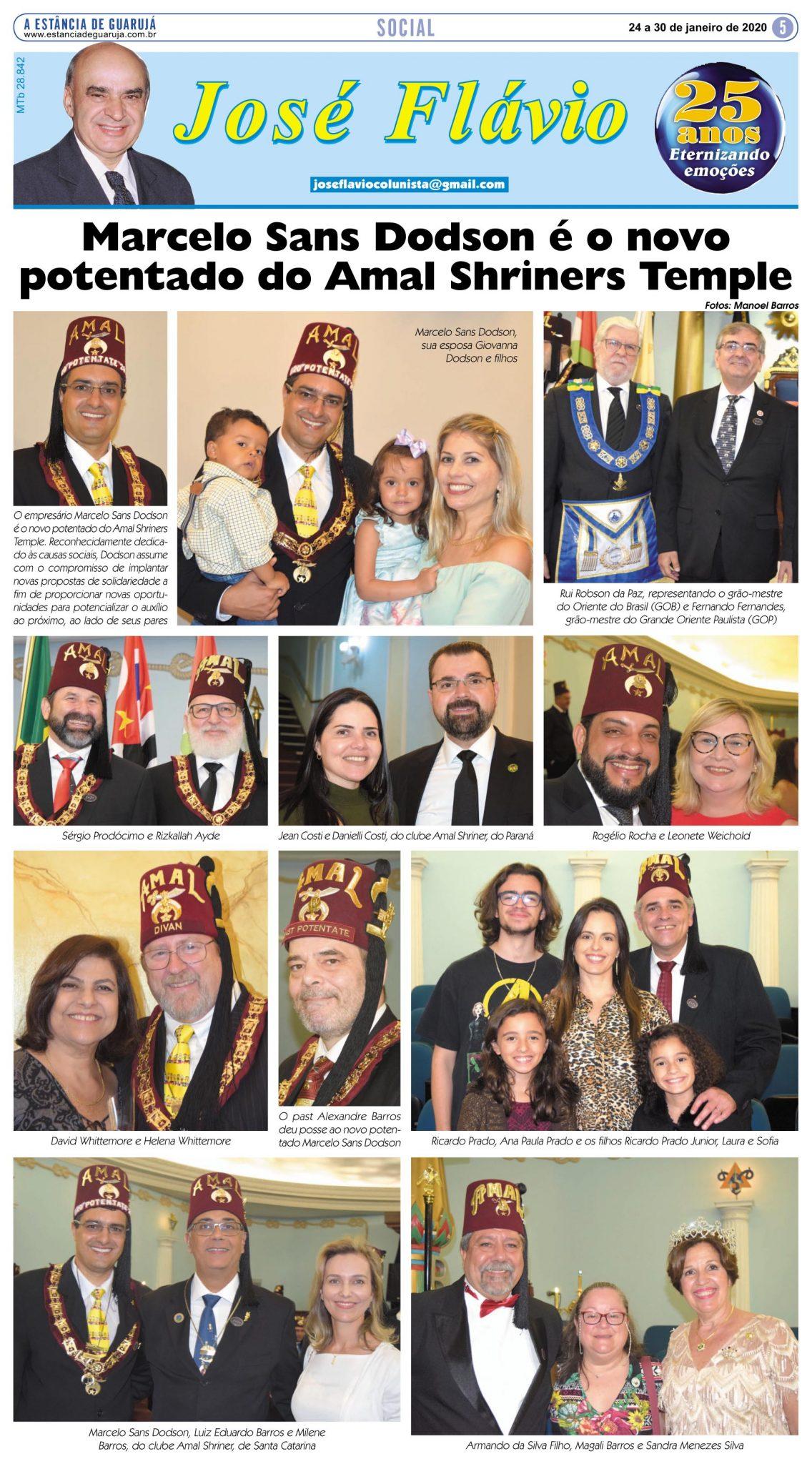 Marcelo Sans Dodson é o novo potentado do Amal Shriners Temple