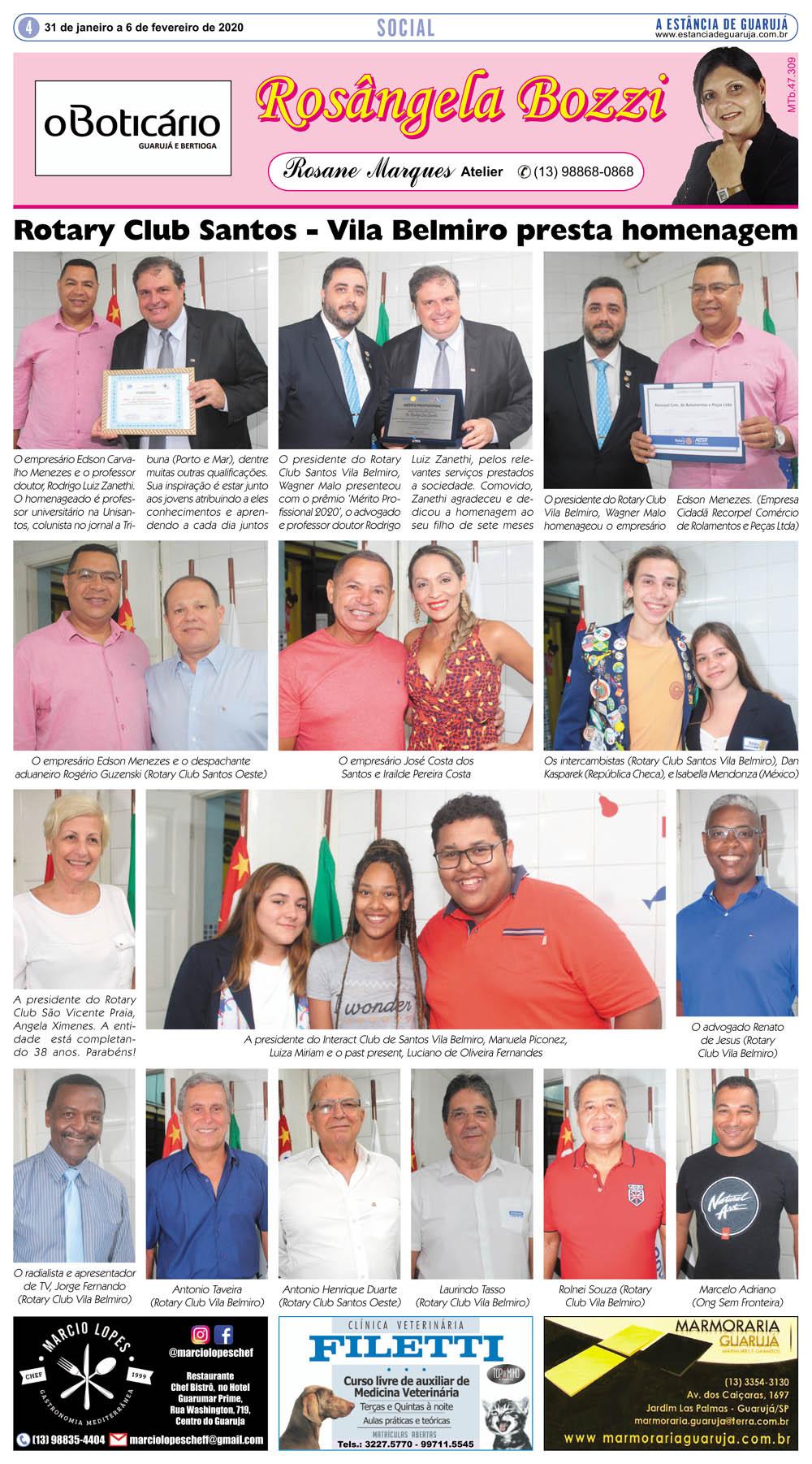 Rotary Club Santos Vila Belmiro presta homenagem