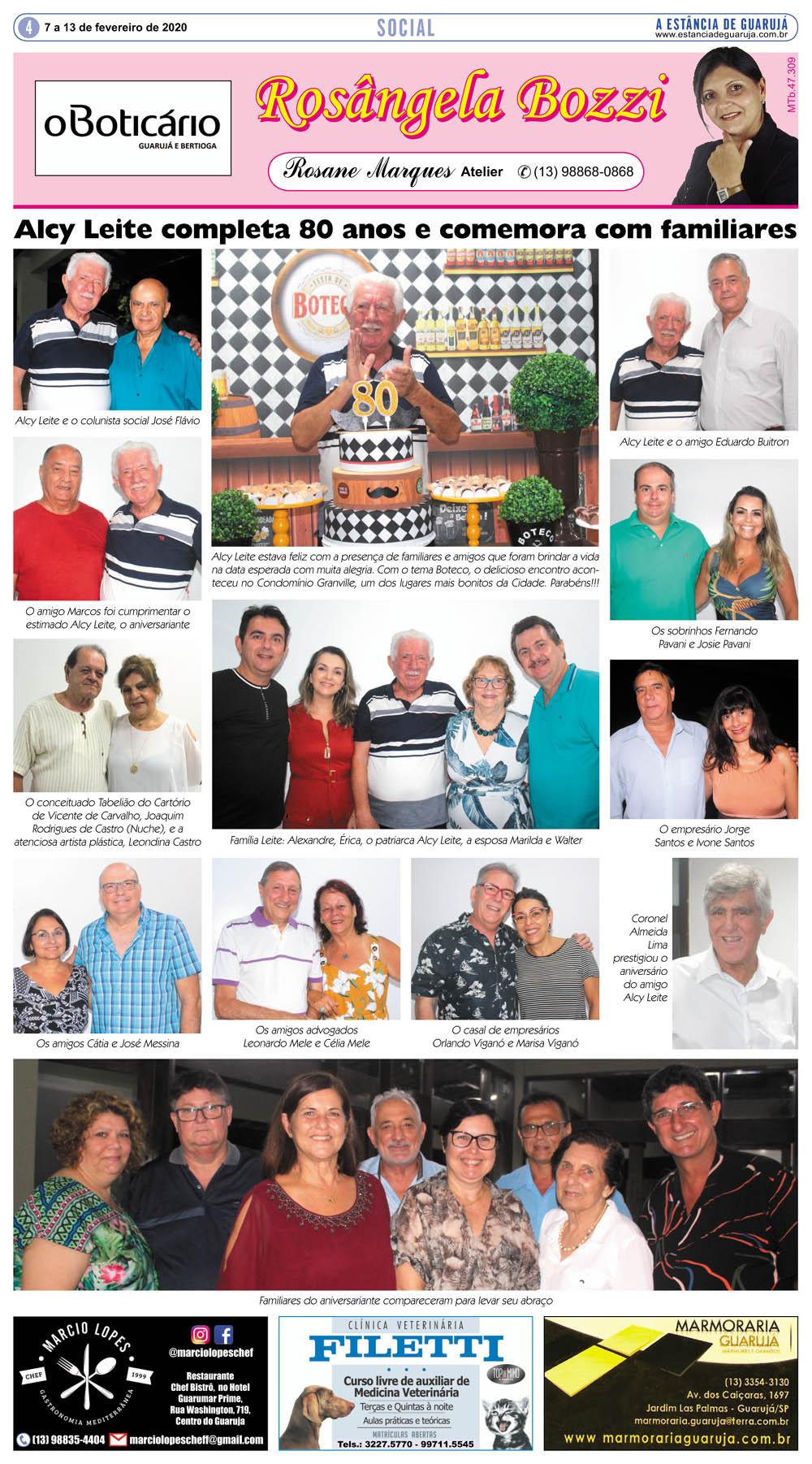 Alcy Leite completa 80 anos e comemora com familiares