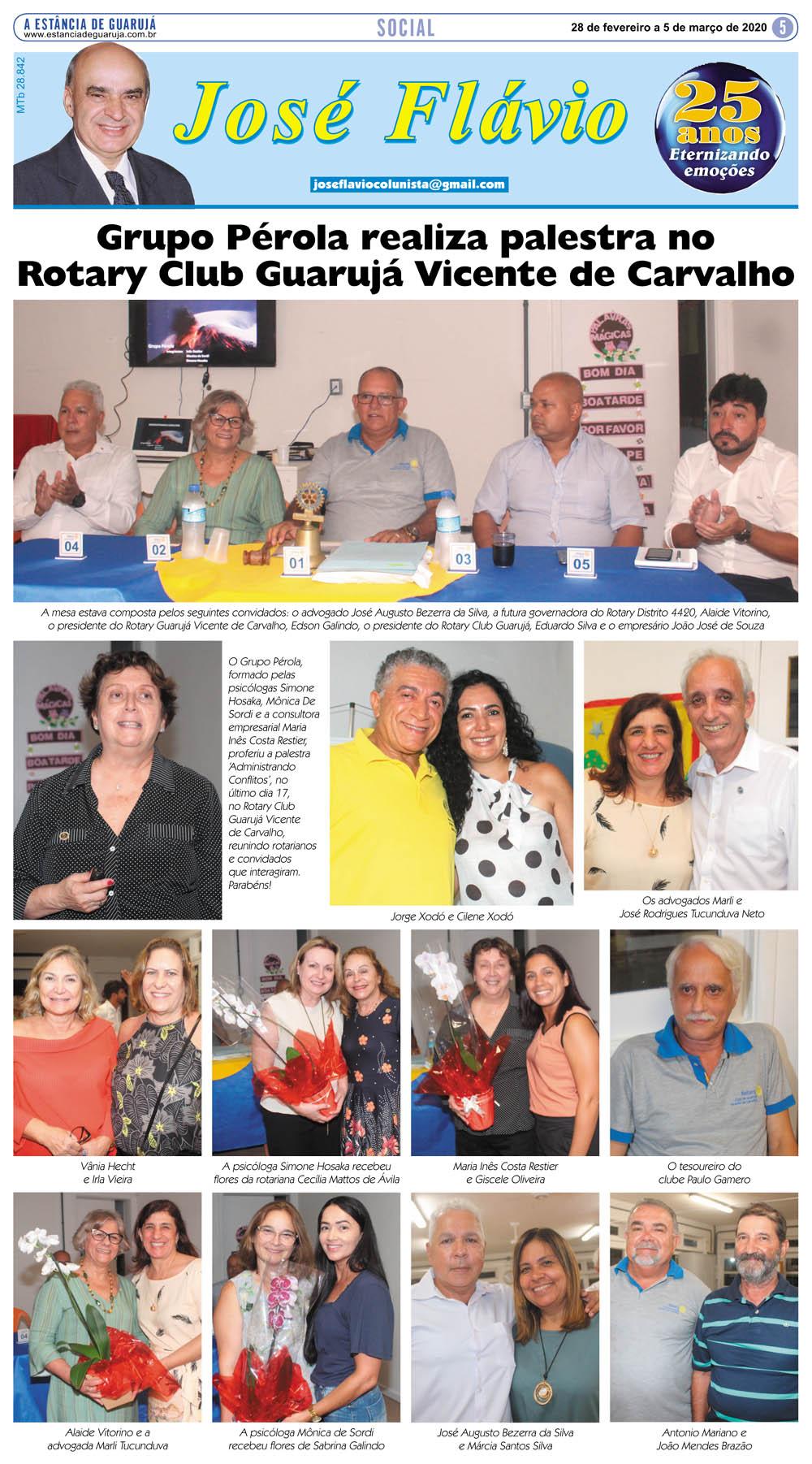 Grupo Pérola realiza palestra no Rotary Club Guarujá VC
