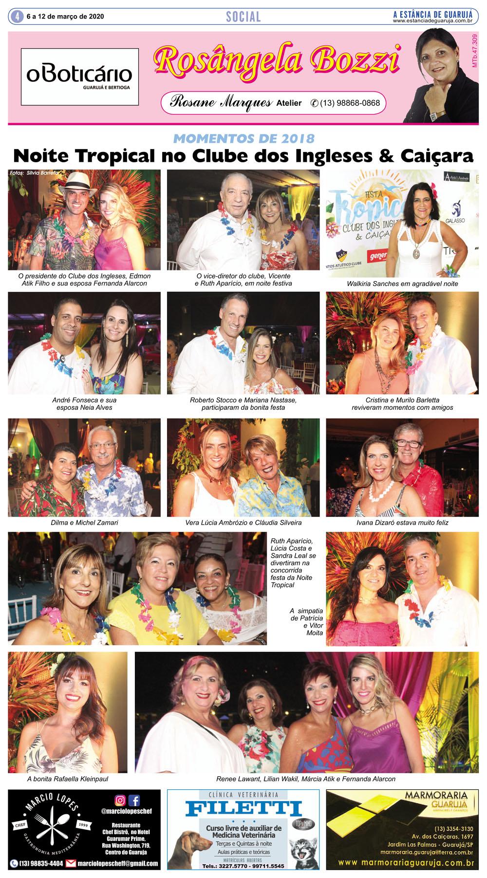 Noite Tropical no Clube dos Ingleses & Caiçara