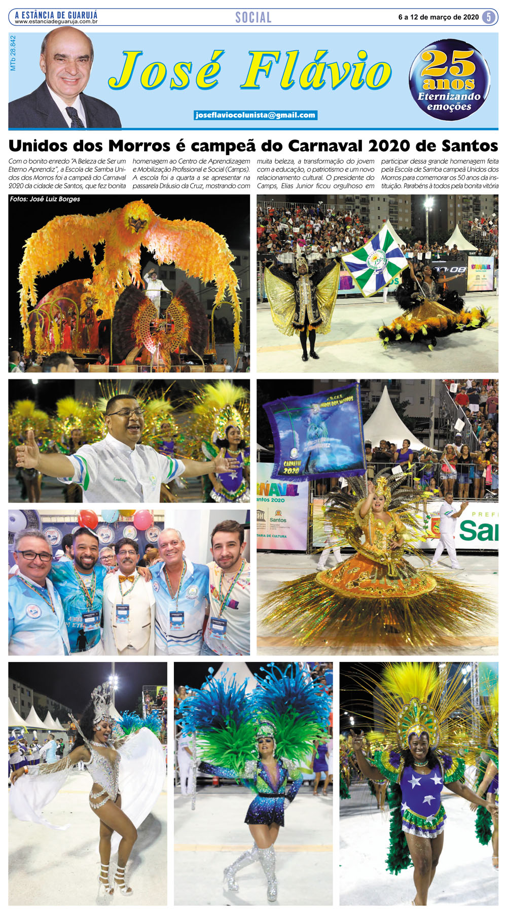 Unidos dos Morros é campeã do Carnaval 2020 de Santos