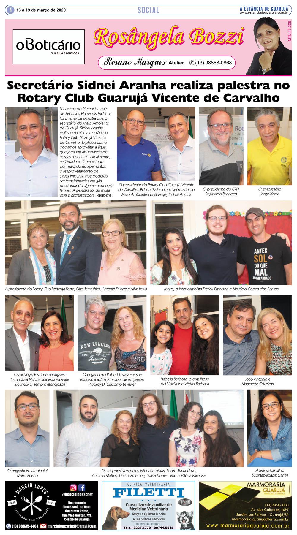 Sidnei Aranha realiza palestra no Rotary Club Guarujá VC