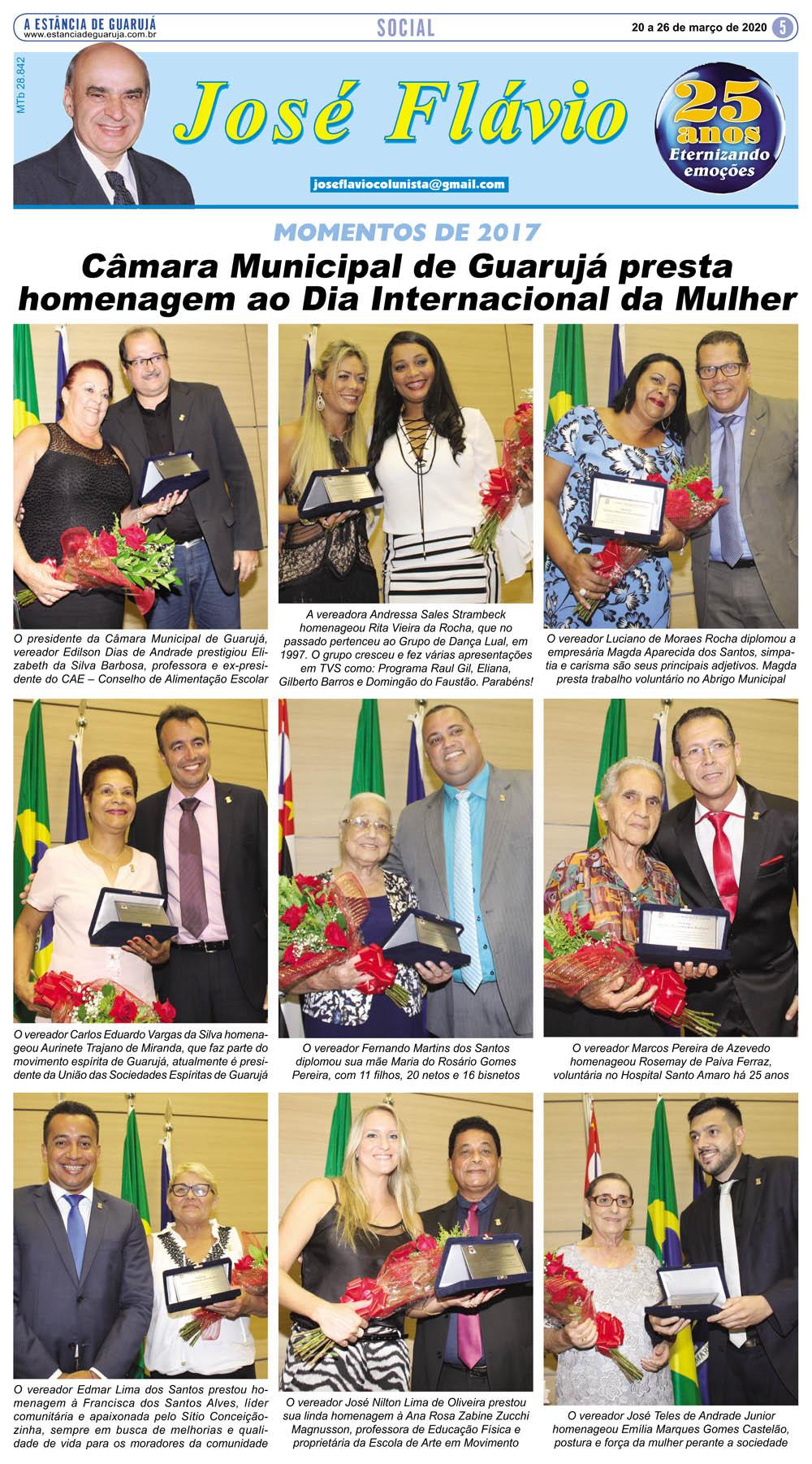 Câmara de Guarujá presta homenagem ao Dia da Mulher