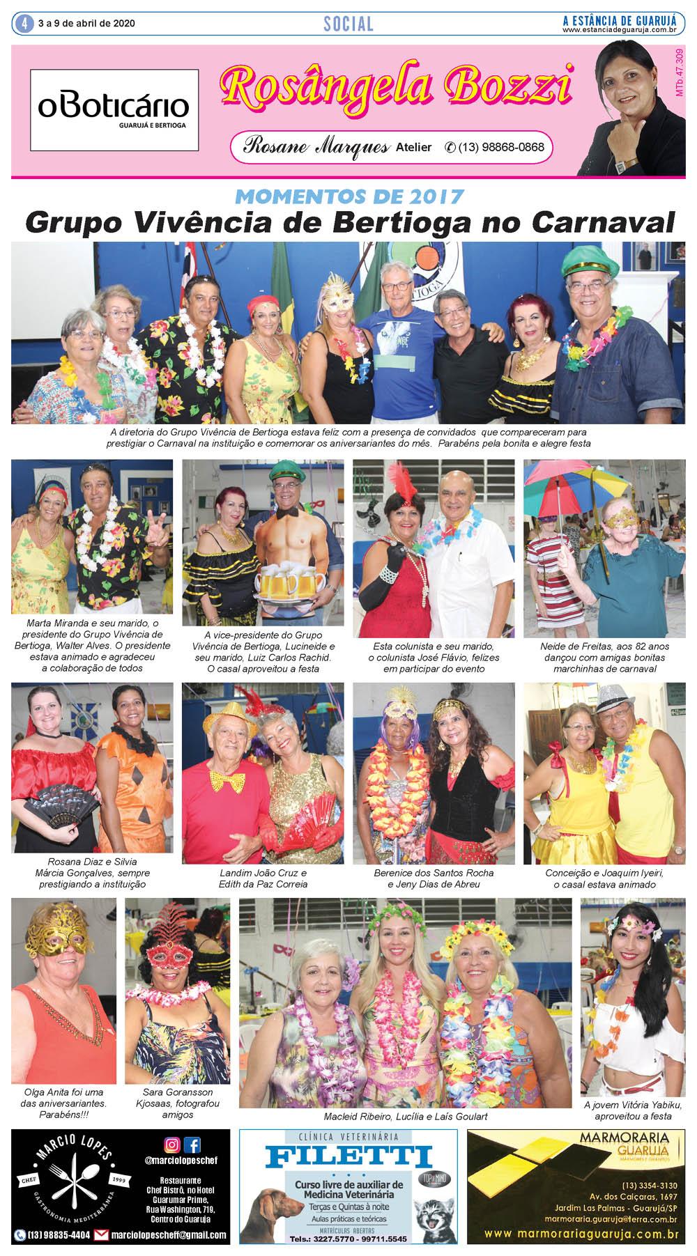 Momentos do Carnaval do Grupo Vivência de Bertioga