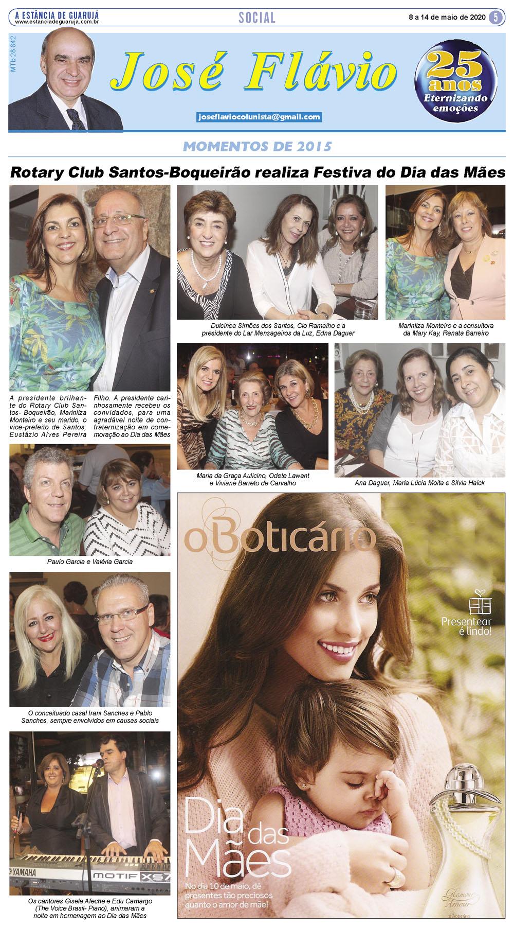 Rotary Club Santos-Boqueirão comemora o Dia das Mães