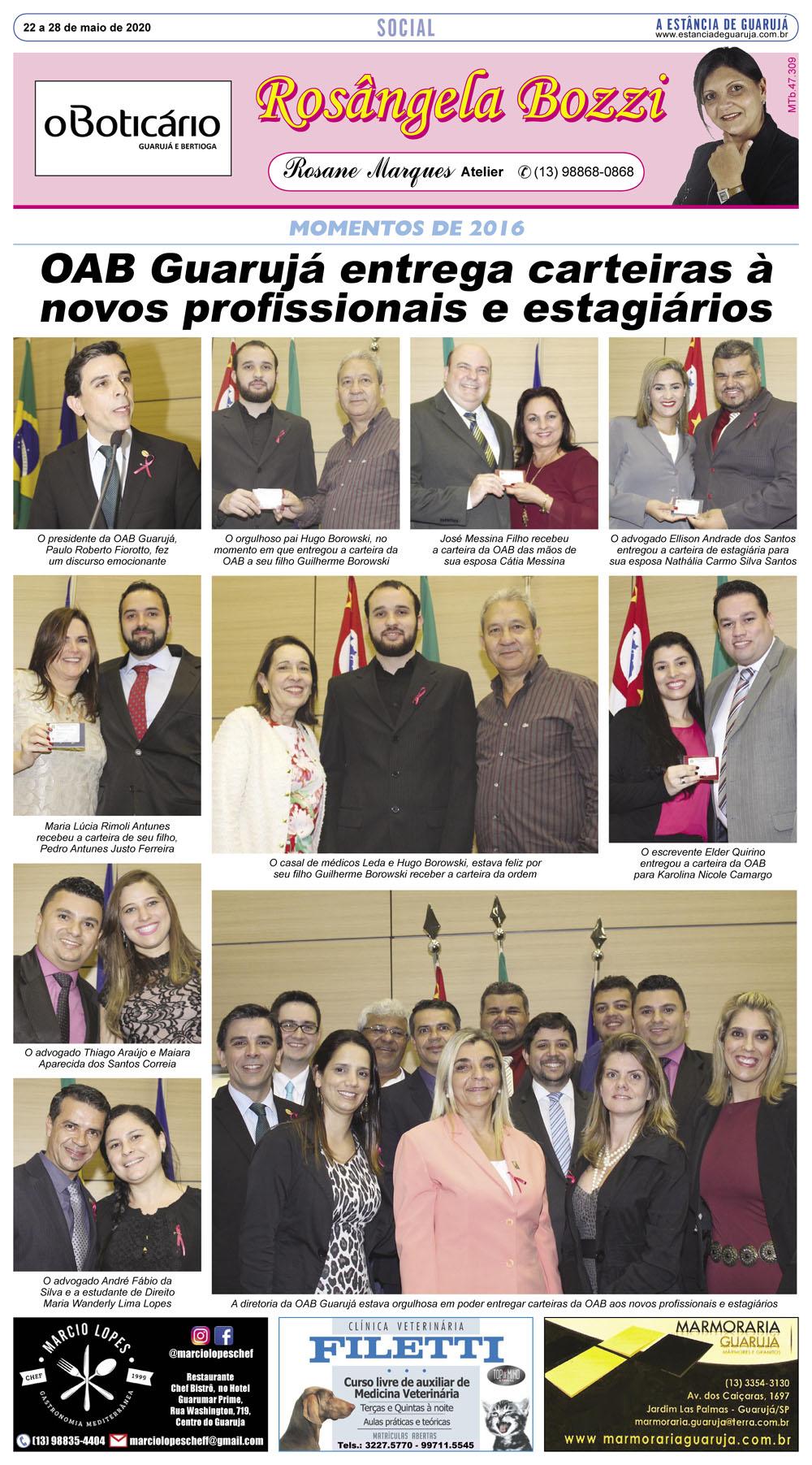 OAB Guarujá entrega carteiras à novos profissionais e estagiários