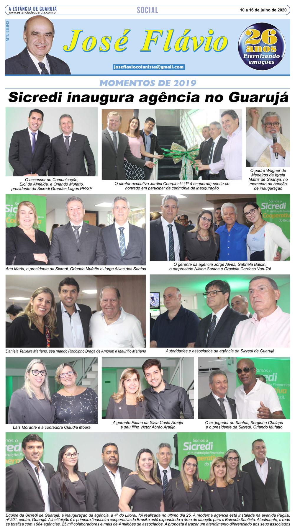 Momentos da inauguração da agência Sicredi no Guarujá
