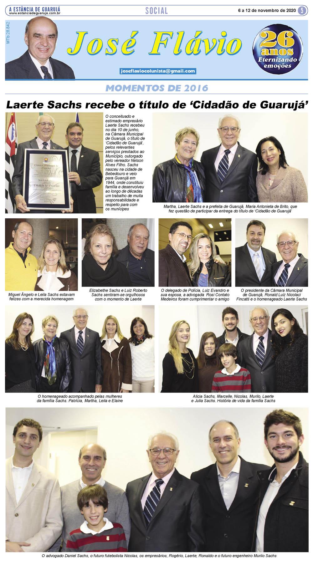 Empresário Laerte Sachs recebe o título de 'Cidadão de Guarujá'