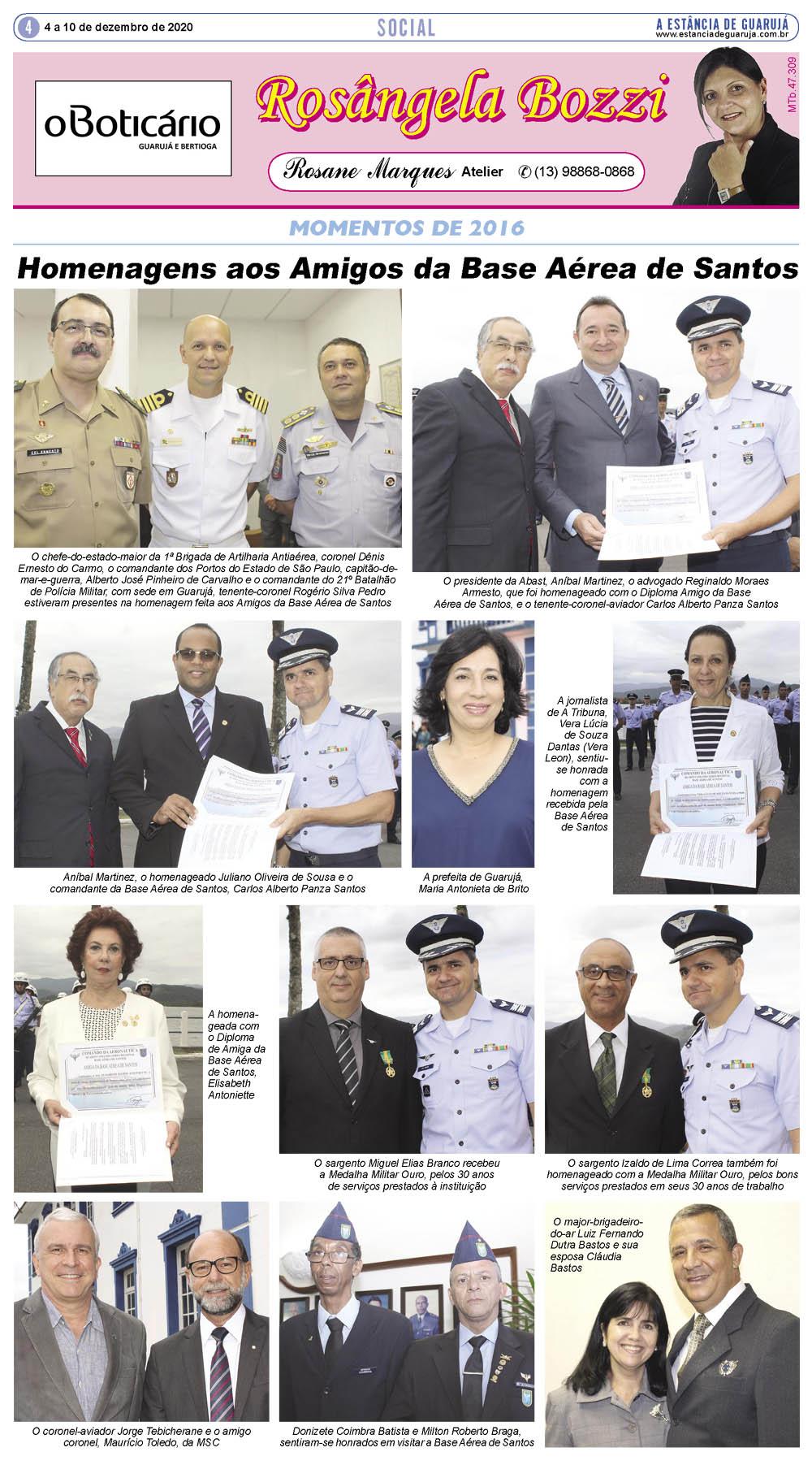 Homenagens aos Amigos da Base Aérea de Santos