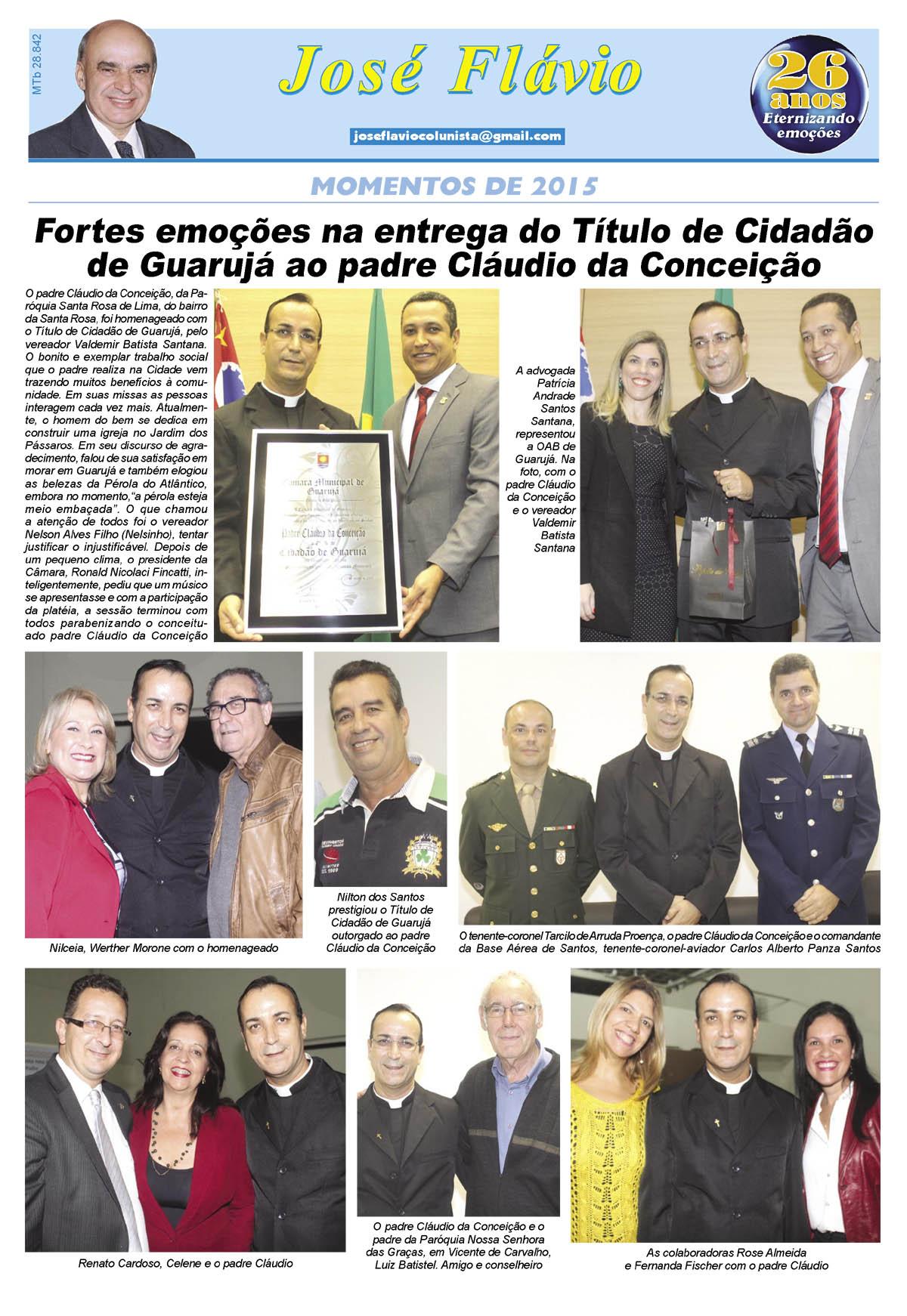 Entrega do Título de Cidadão ao padre Cláudio da Conceição