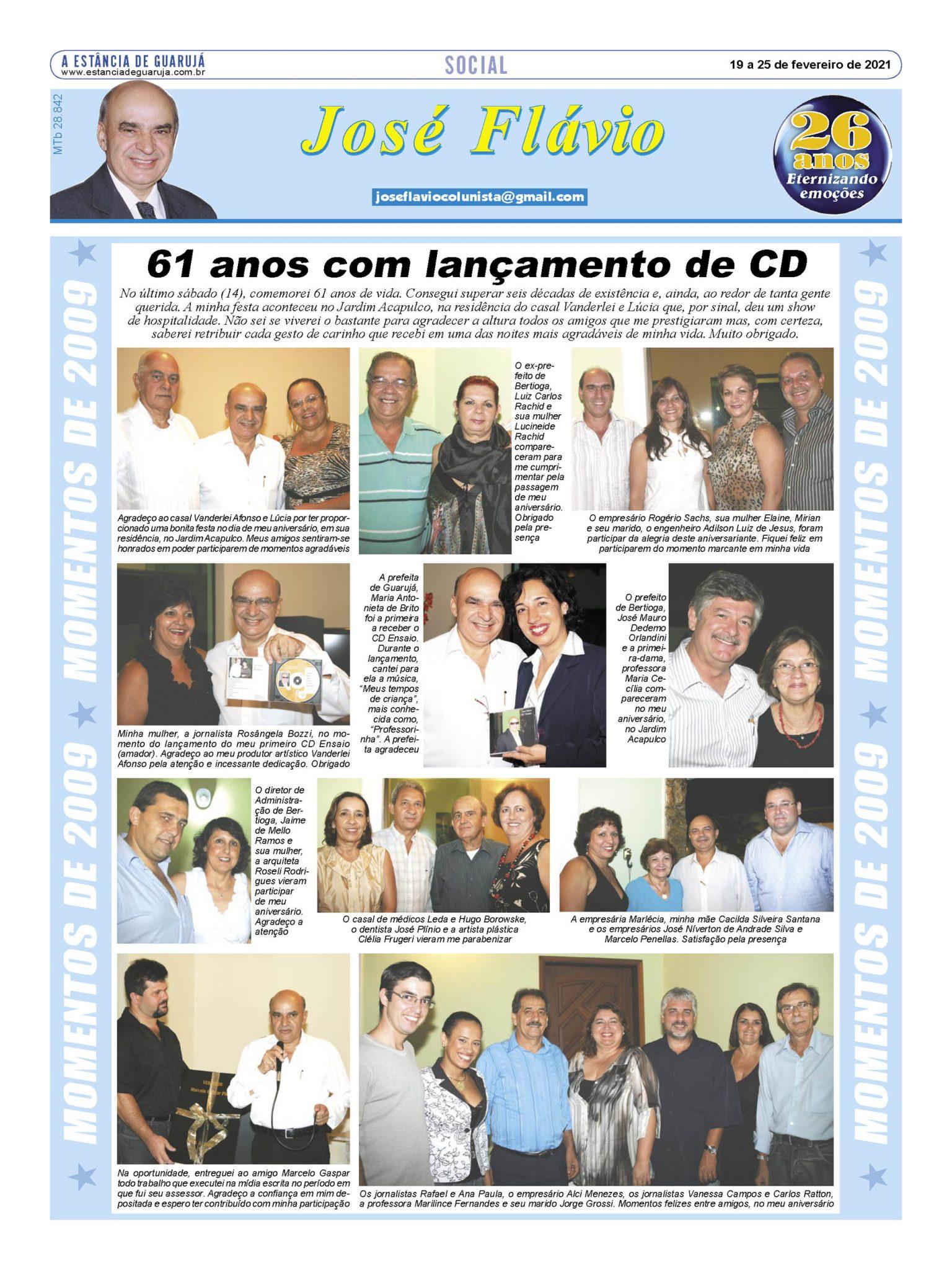 61 anos com lançamento do CD 'Ensaio'